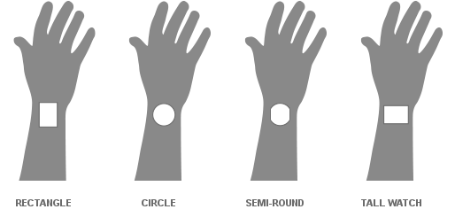 Example of screen shapes on a person's wrist